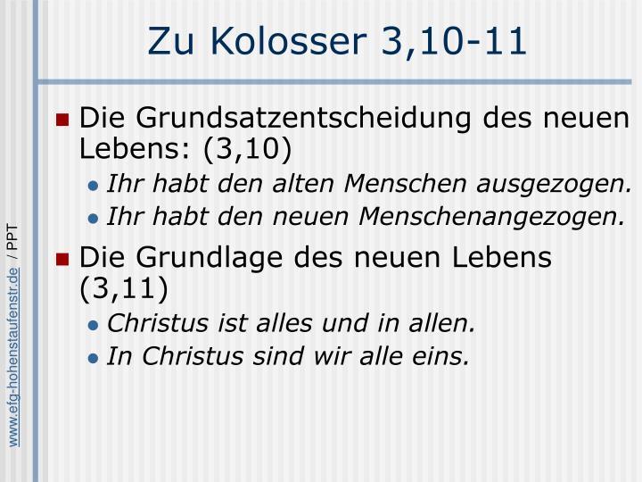 Zu Kolosser 3,10-11