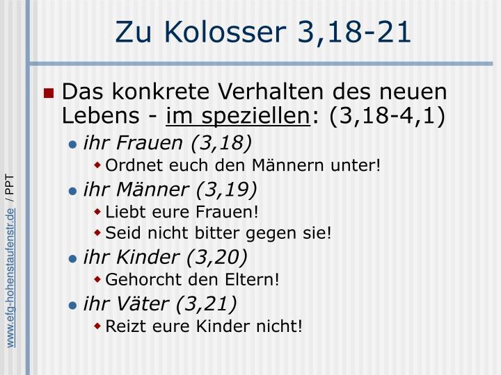 Zu Kolosser 3,18-21
