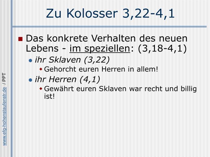 Zu Kolosser 3,22-4,1