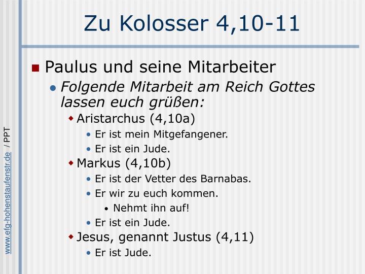 Zu Kolosser 4,10-11