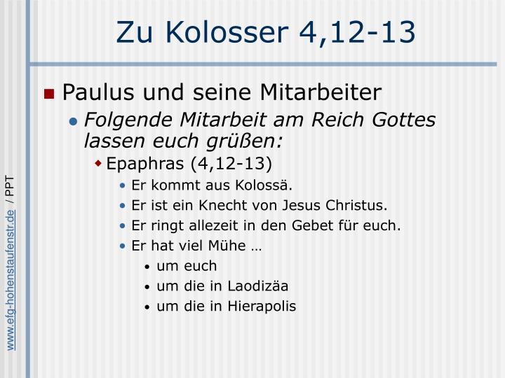 Zu Kolosser 4,12-13
