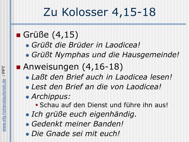 Zu Kolosser 4,15-18