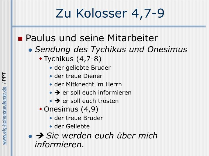 Zu Kolosser 4,7-9
