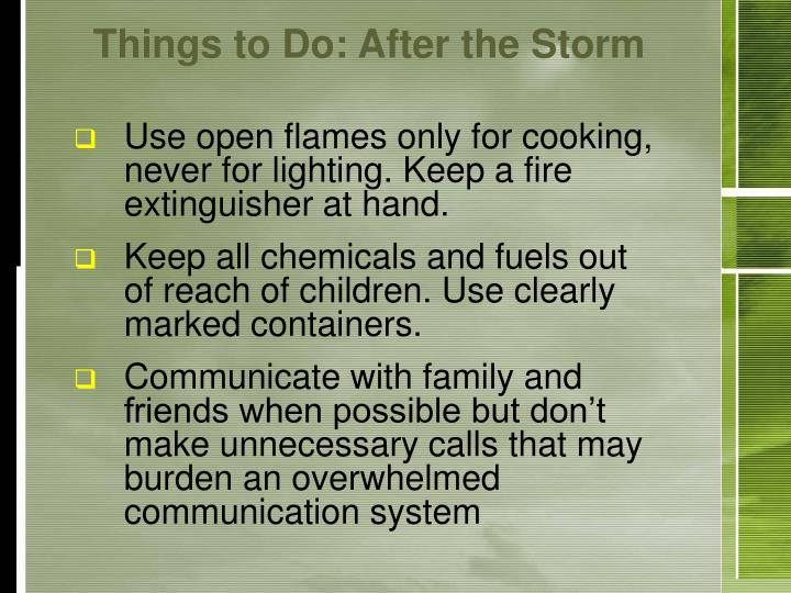 Things to Do: After the Storm