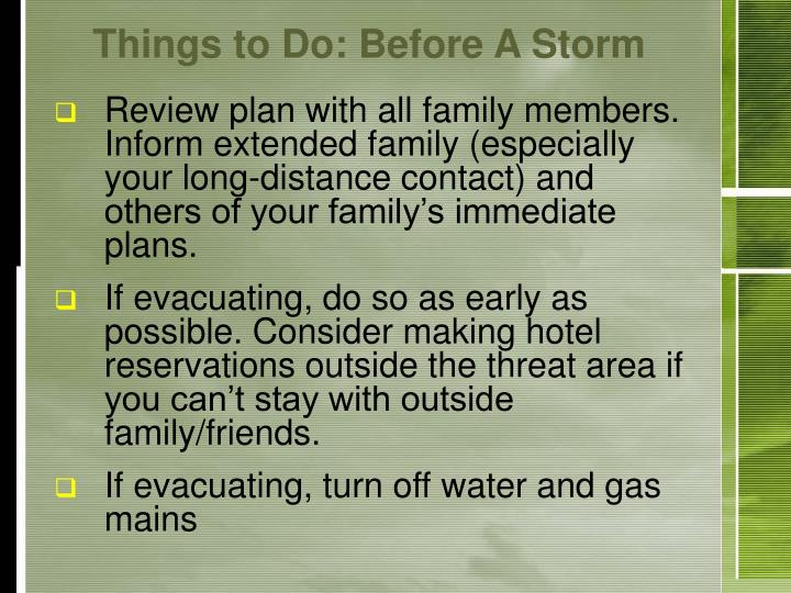 Things to Do: Before A Storm