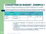 conception du budget exemple 1