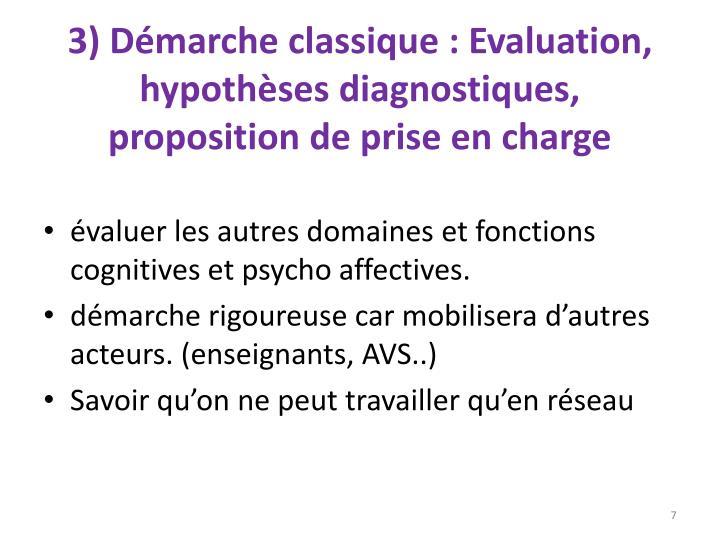 3) Démarche classique: Evaluation, hypothèses diagnostiques, proposition de prise en charge