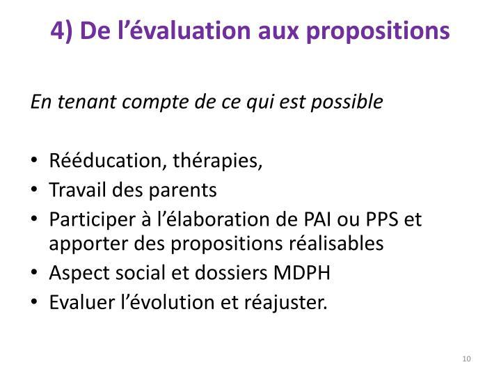 4) De l'évaluation aux propositions