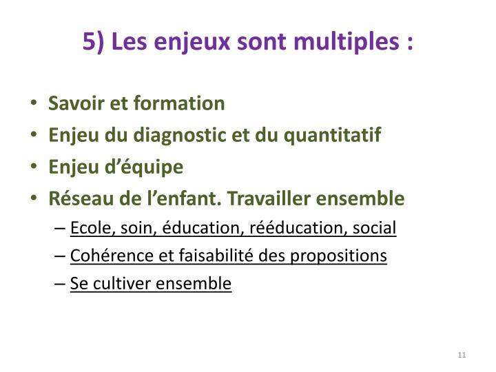5) Les enjeux sont multiples:
