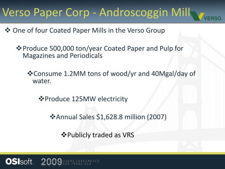 Verso paper corp androscoggin mill