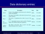 data dictionary entries