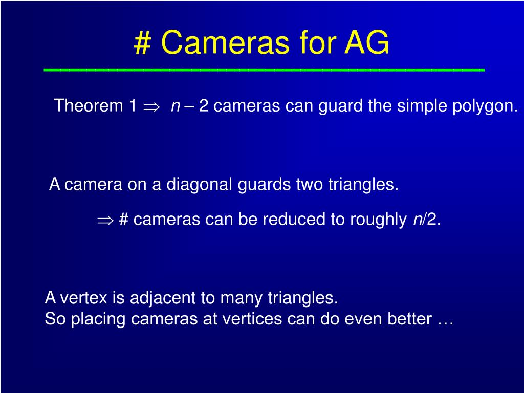 # Cameras for AG