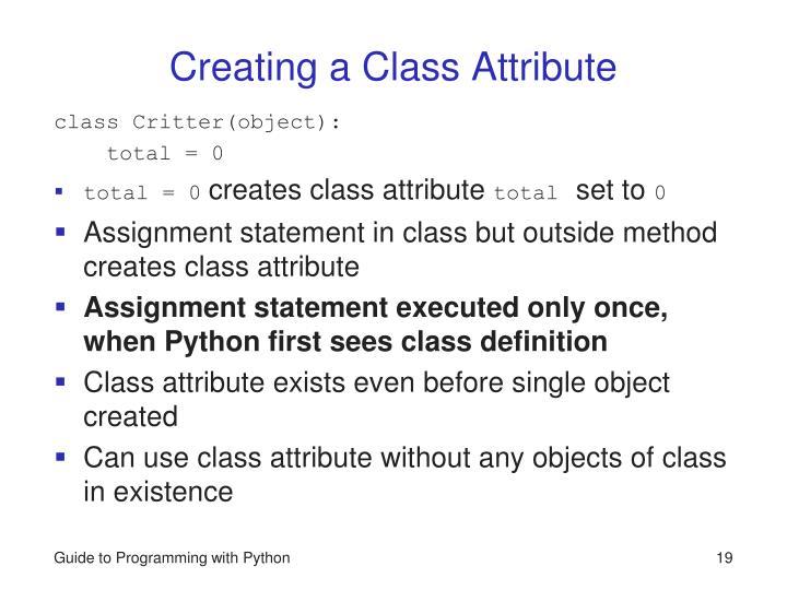 Creating a Class Attribute