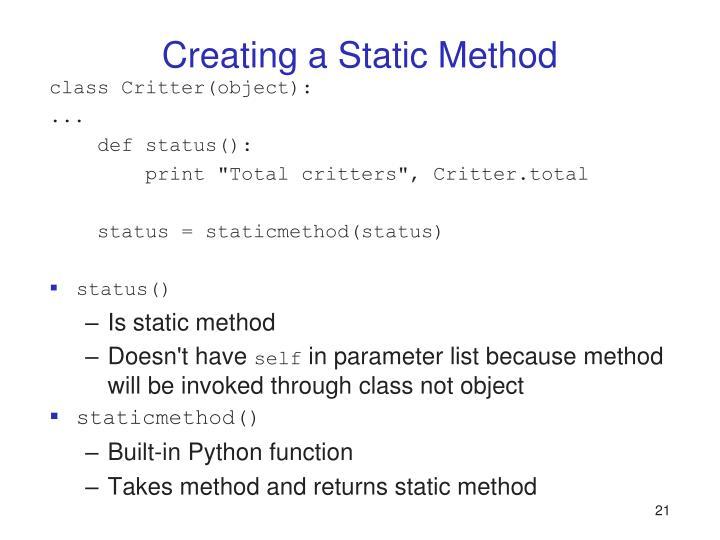 Creating a Static Method