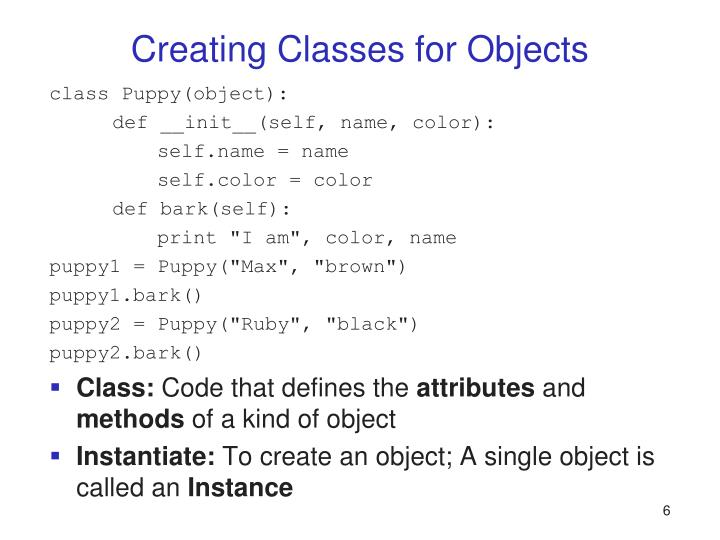 Creating Classes for Objects