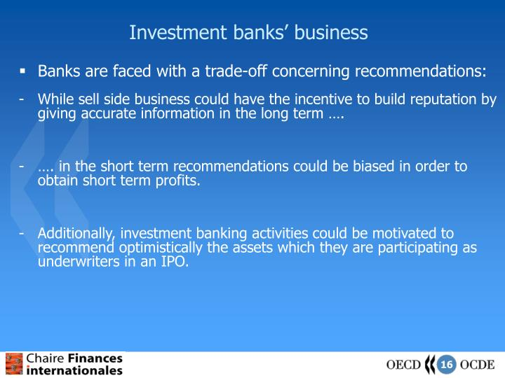 Investment banks' business