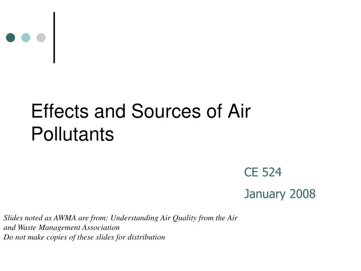 effects and sources of air pollutants n.