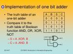 implementation of one bit adder