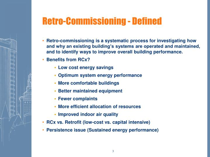 Retro commissioning defined