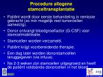 procedure allogene stamceltransplantatie