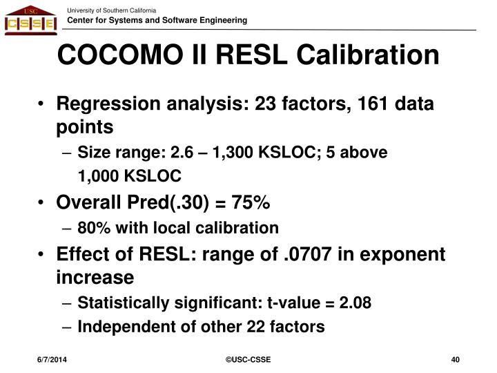 COCOMO II RESL Calibration