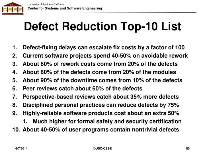 Defect Reduction Top-10 List