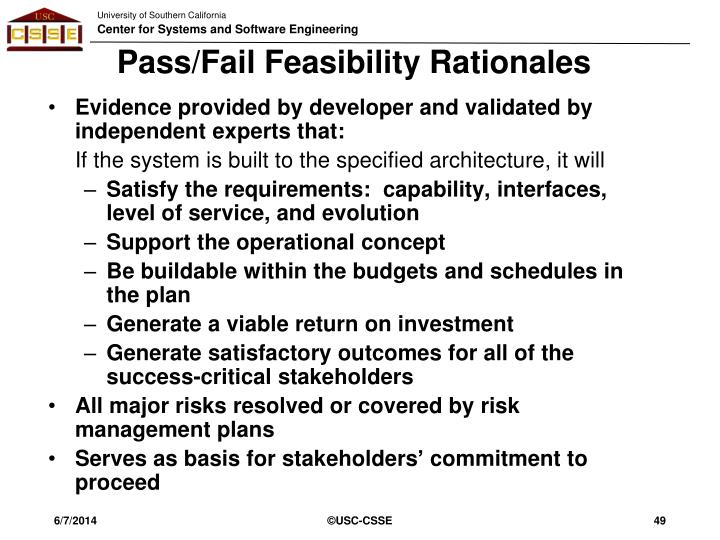 Pass/Fail Feasibility Rationales