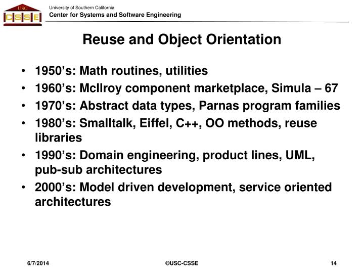 Reuse and Object Orientation