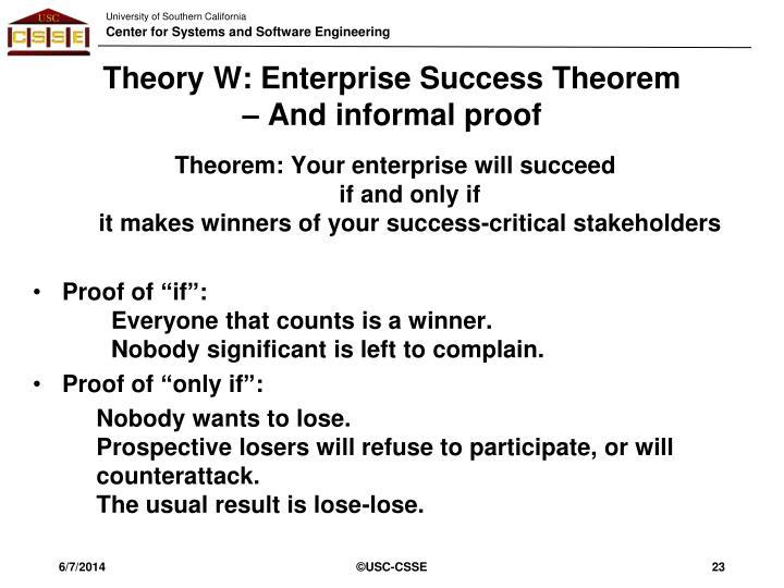 Theory W: Enterprise Success Theorem