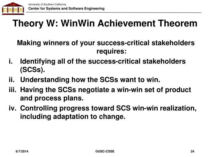 Theory W: WinWin Achievement Theorem