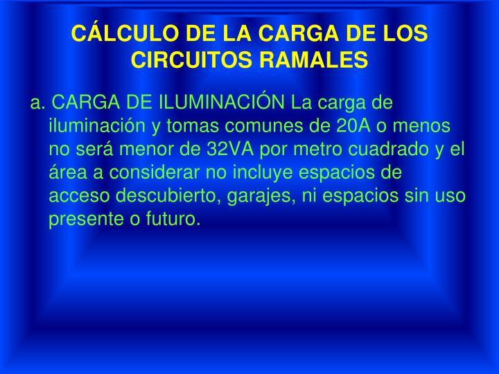 CÁLCULO DE LA CARGA DE LOS