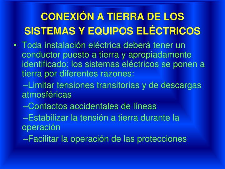 CONEXIÓN A TIERRA DE LOS