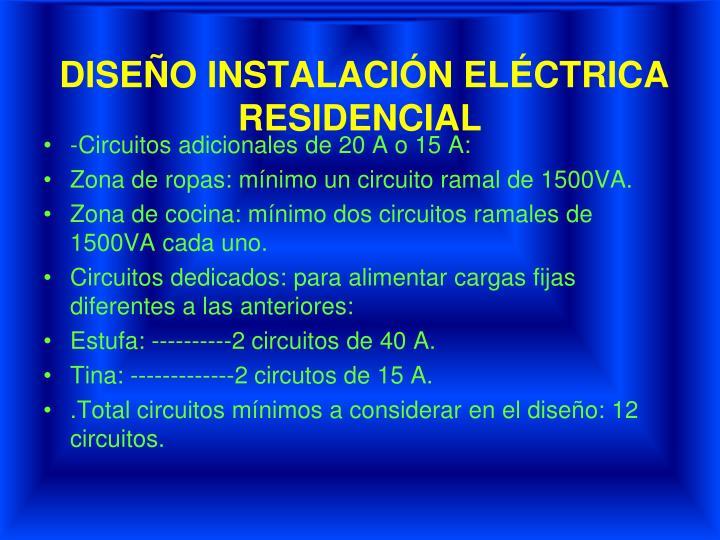 DISEÑO INSTALACIÓN ELÉCTRICA RESIDENCIAL