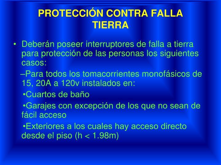PROTECCIÓN CONTRA FALLA