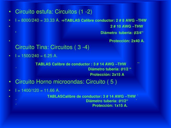 Circuito estufa: Circuitos (1 -2)