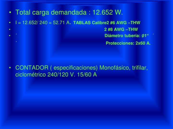 Total carga demandada : 12.652 W.