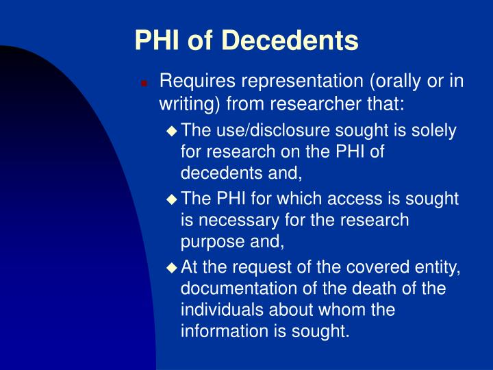 PHI of Decedents