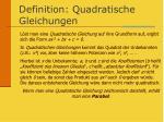 definition quadratische gleichungen