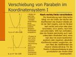 verschiebung von parabeln im koordinatensystem i