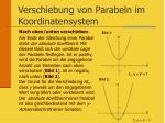 verschiebung von parabeln im koordinatensystem