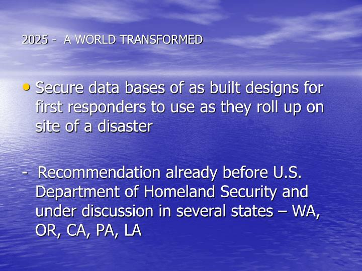 2025 -  A WORLD TRANSFORMED
