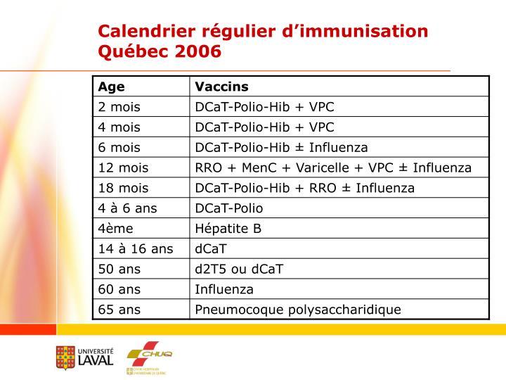 Calendrier régulier d'immunisation