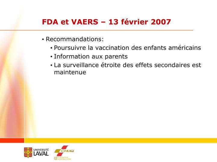 FDA et VAERS – 13 février 2007