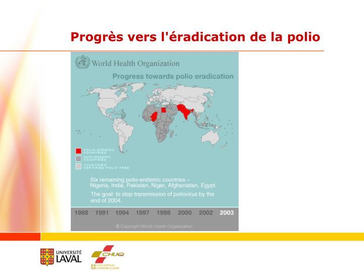 Progrès vers l'éradication de la polio