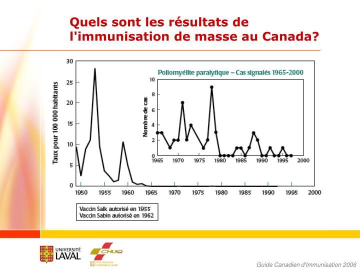 Quels sont les résultats de l'immunisation de masse au Canada?