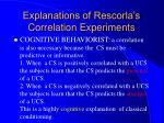 explanations of rescorla s correlation experiments