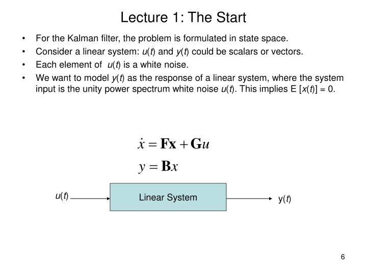 Lecture 1: The Start