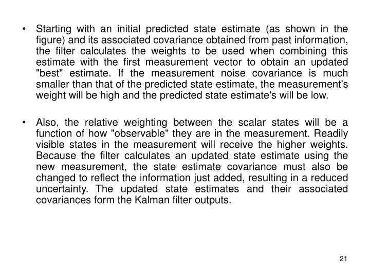 """Starting with an initial predicted state estimate (as shown in the figure) and its associated covariance obtained from past information, the filter calculates the weights to be used when combining this estimate with the first measurement vector to obtain an updated """"best"""" estimate. If the measurement noise covariance is much smaller than that of the predicted state estimate, the measurement's weight will be high and the predicted state estimate's will be low."""