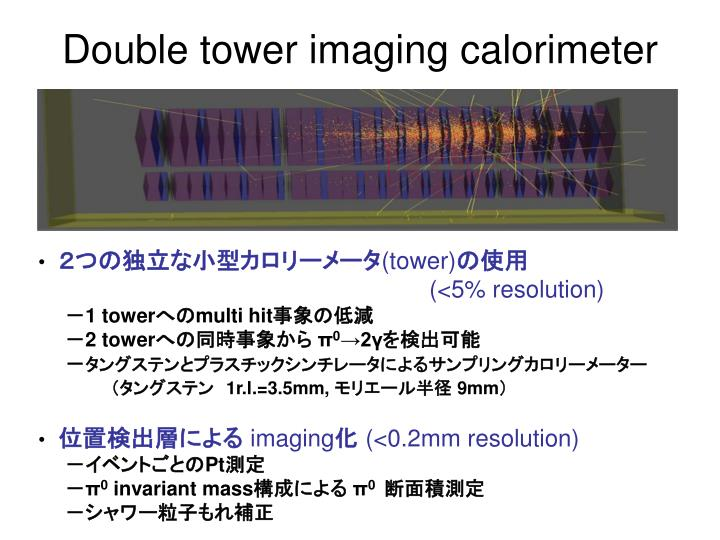 Double tower imaging calorimeter
