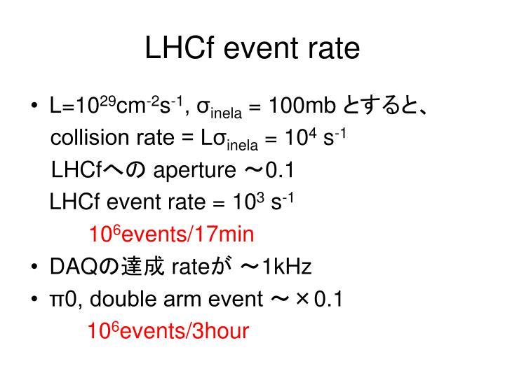 LHCf event rate